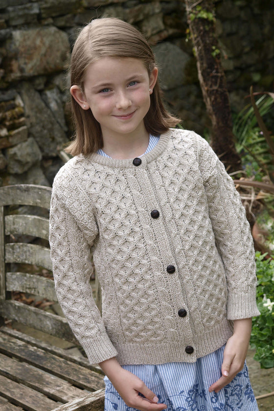 Kids Wool Crew Neck Cardigan - Parsnip