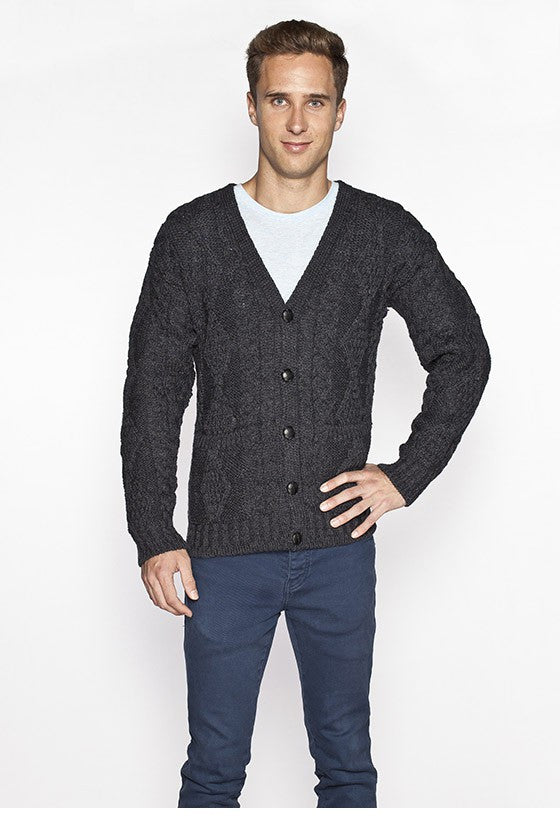 Men's V Neck Cable Knit Cardigan - Charcoal Grey