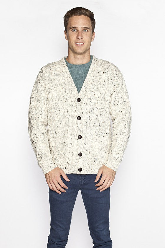 Men's V Neck Cable Knit Cardigan - Fleck
