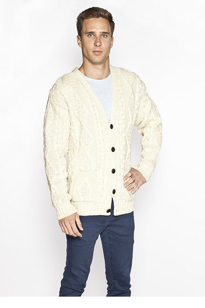 Men's V Neck Cable Knit Cardigan - Natural