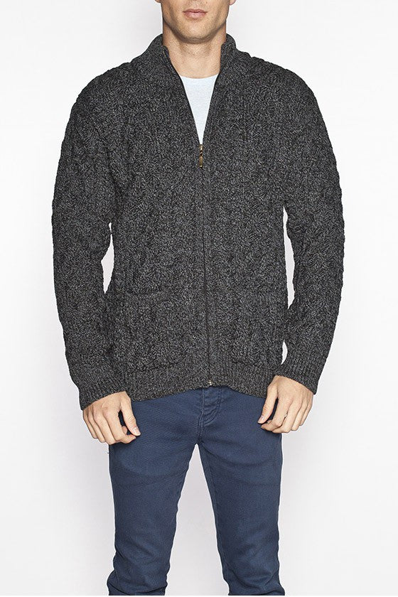 Buy Mens Full Zip Aran Sweater In Grey Aran Sweaters Direct