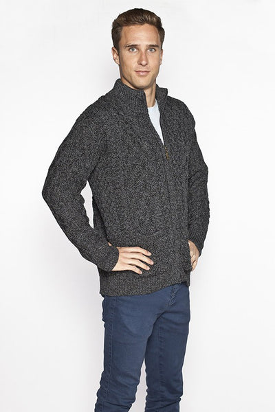 Men's Full Zip Aran Sweater - Charcoal Grey