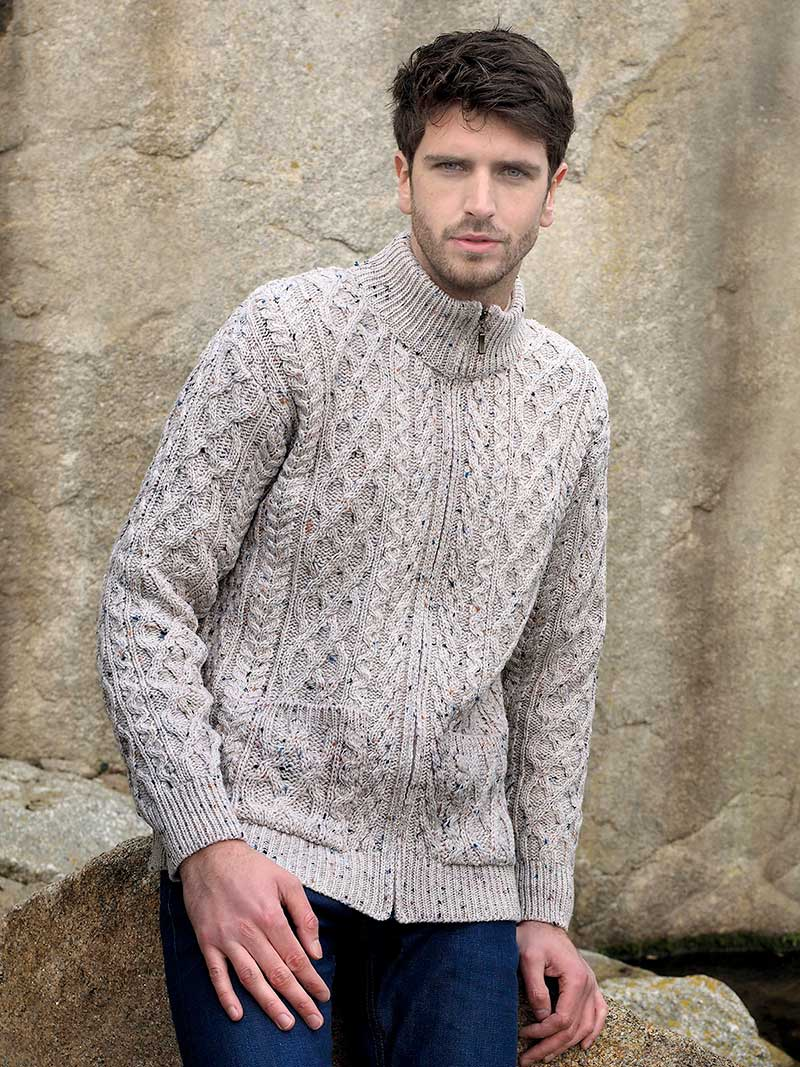 Men's Aran Sweater In Oatmeal - Buy Online