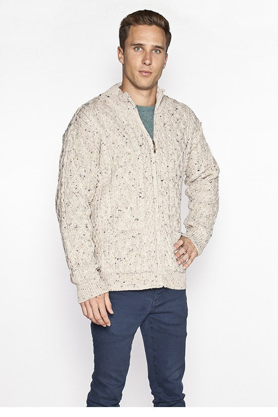 Men's Full Zip Aran Sweater - Oatmeal