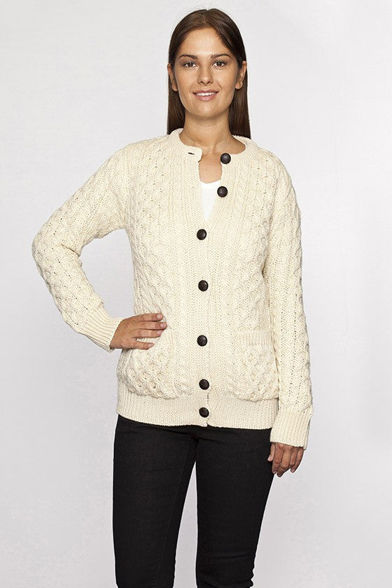Women's Crew Neck Button Cardigan