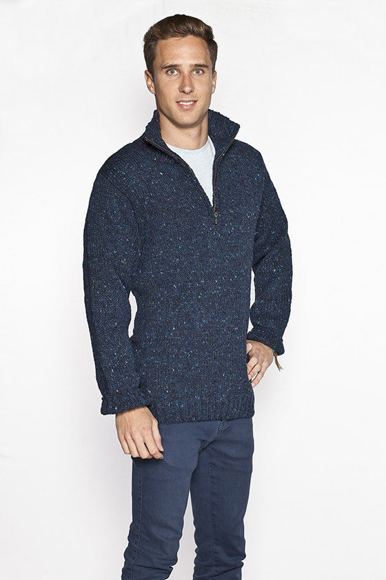 Men's Zip Collar Fishermans Sweater - Blue