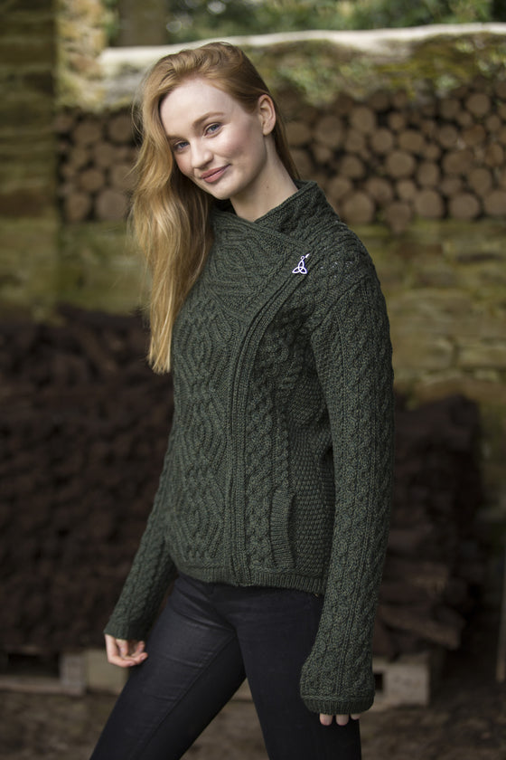 Women's Cable Knit Side Zip Jacket - Army Green
