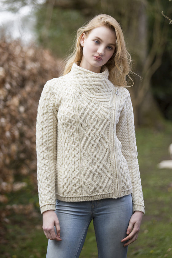 Women's Cable Knit Side Zip Jacket - Natural