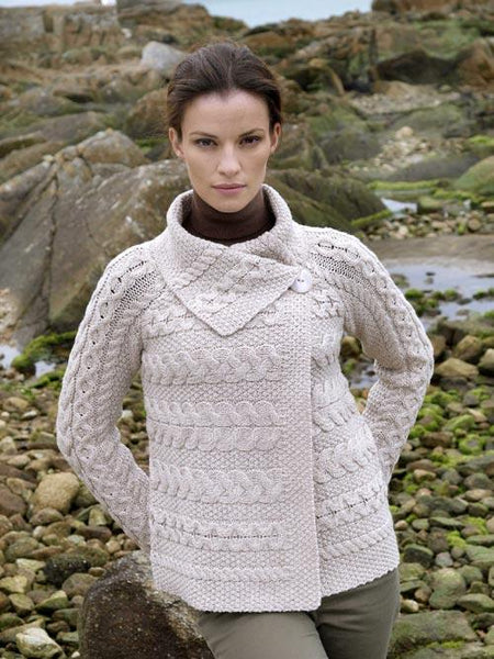 Women's Button Collar Aran Cardigan - Parsnip