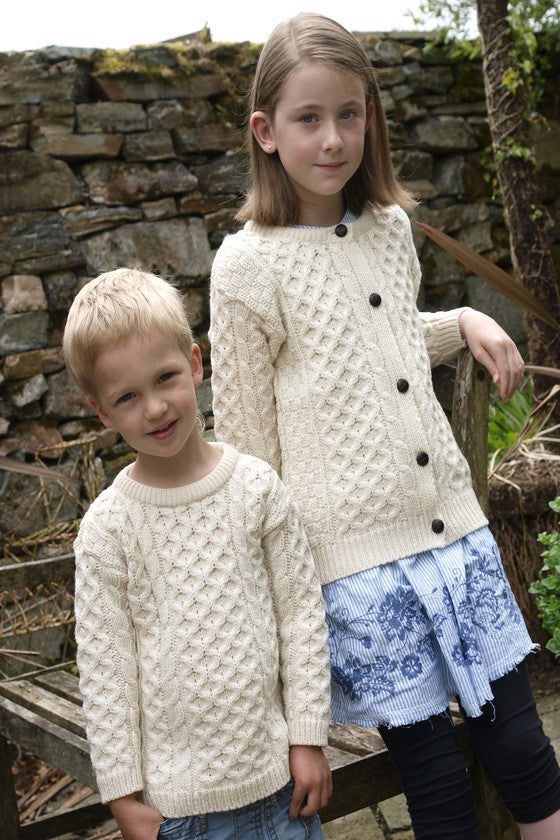 Kid's Crew Neck Aran Sweater - Natural