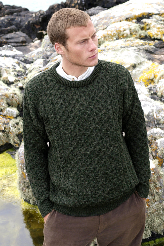 Men's Merino Honeycomb Sweater - Army Green