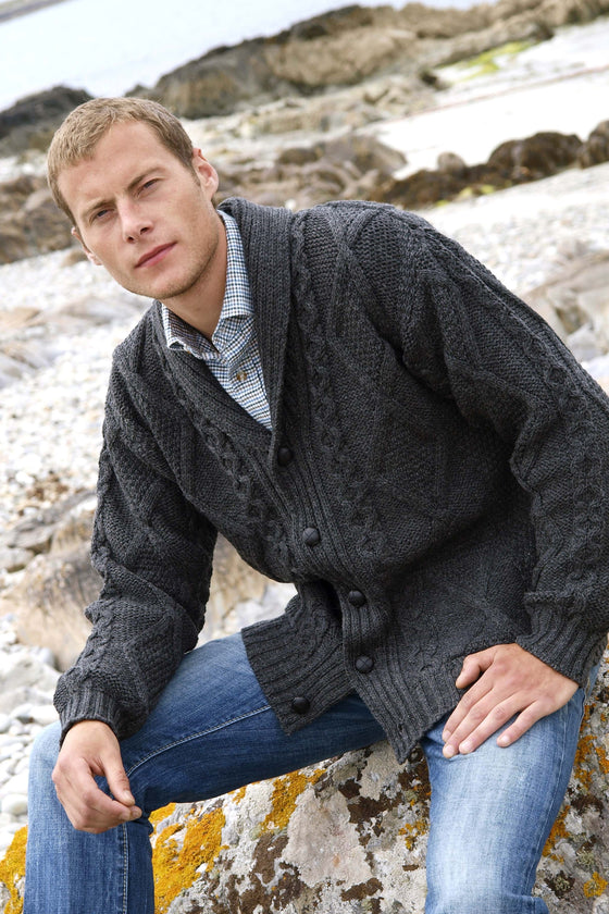 Men's Merino Cardigan Sweater - Charcoal