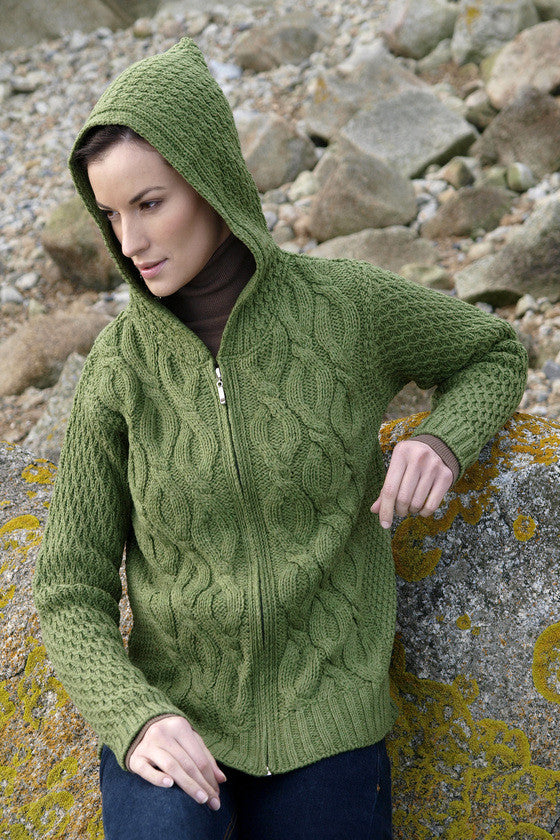 Women's Cable Knit Hooded Sweater - Grass