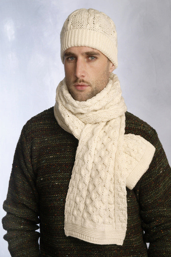Men's Cable Knit Scarf - Natural