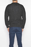 Men's Crew Neck Aran Sweater - Charcoal Grey