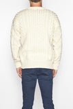 Men's Crew Neck Aran Sweater - Natural