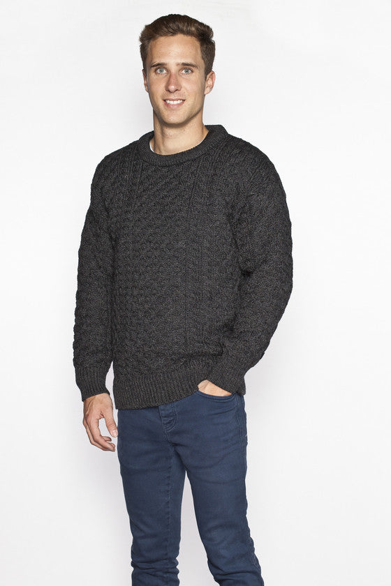 Men's Crew Neck Irish Wool Sweater - Charcoal