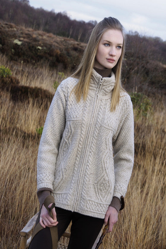 Women's Aran Full Zip Cardigan - Natural