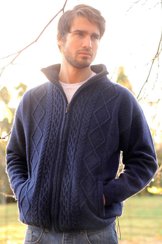 Men's Full Zip Aran Wool Sweater - Navy