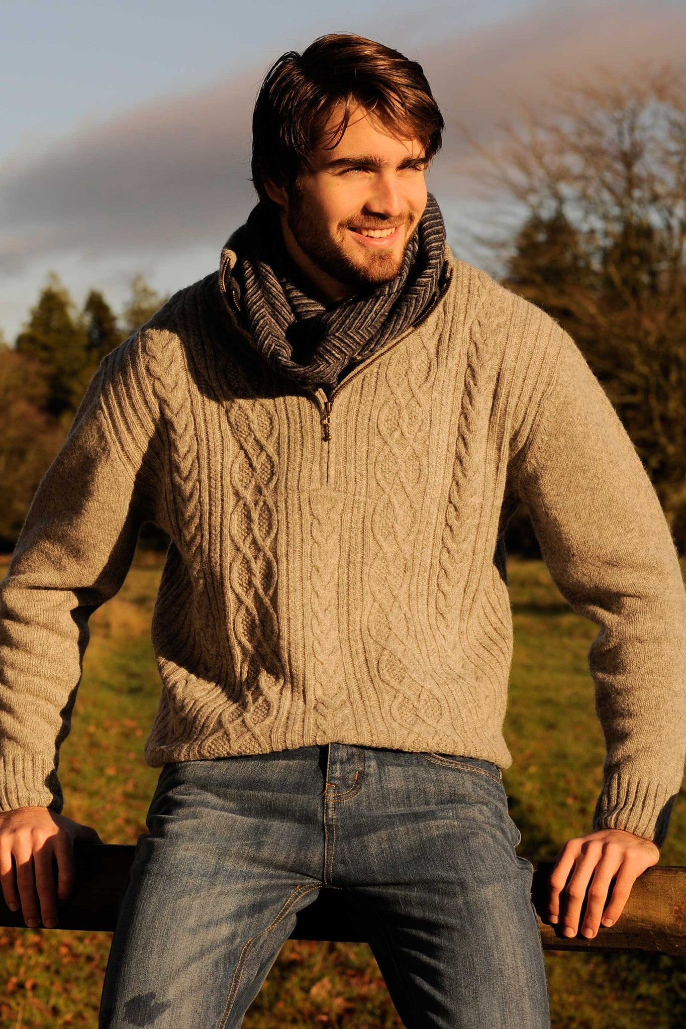 Men's Zip Collar Aran Island Sweater