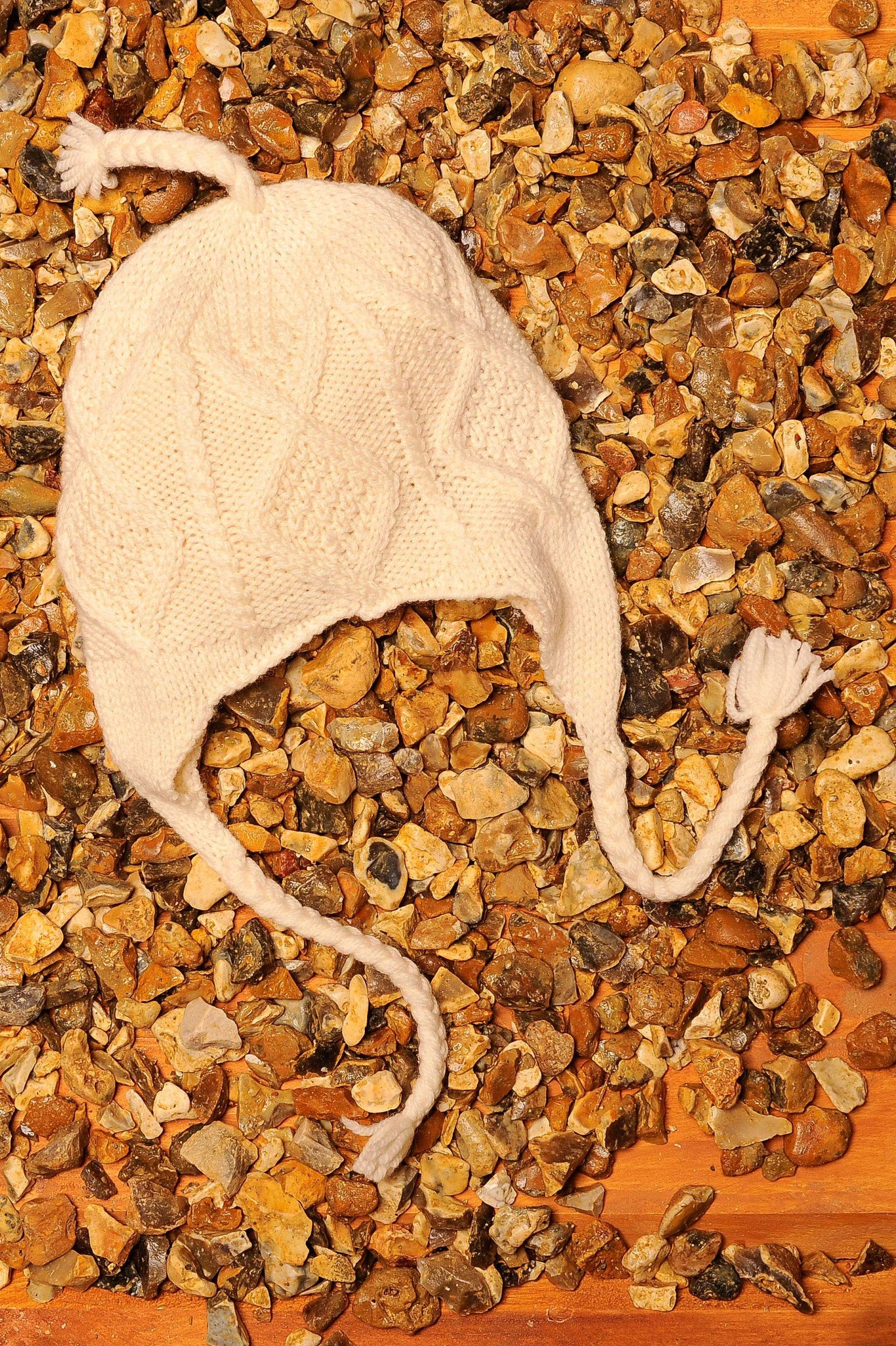 Diamond Knit Irish Wool Hat - Natural