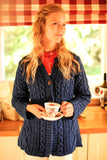 Women's Cable Knit Button Cardigan - Blue