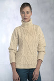 Women's Aran Turtleneck Sweater - Natural