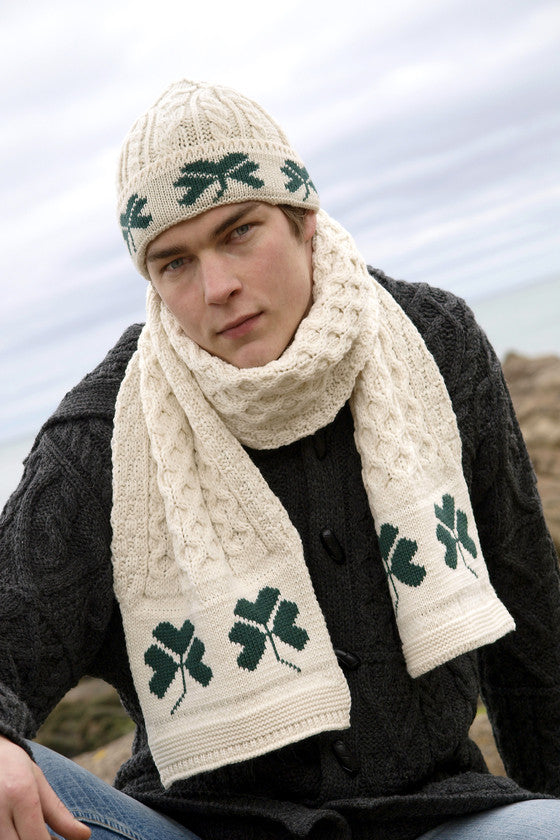 Men's Celtic Wool Scarf - Natural
