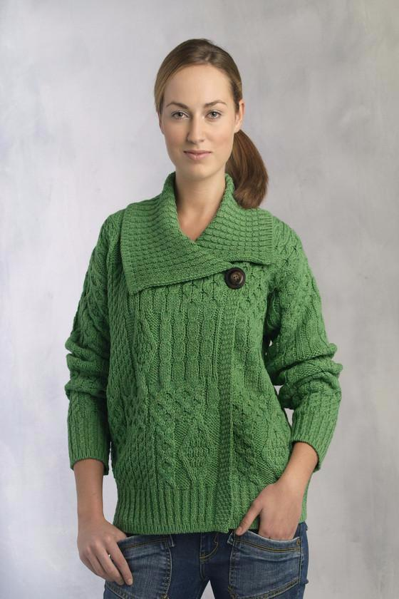 81c5586c86 One Button Aran Wool Cardigan - Green – Aran Sweaters Direct