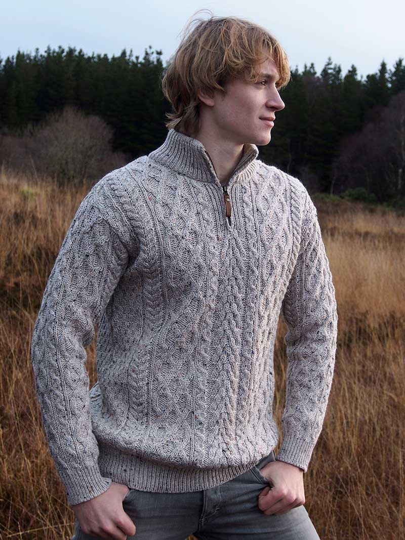 Men's Half Zip Aran Sweater - Oatmeal