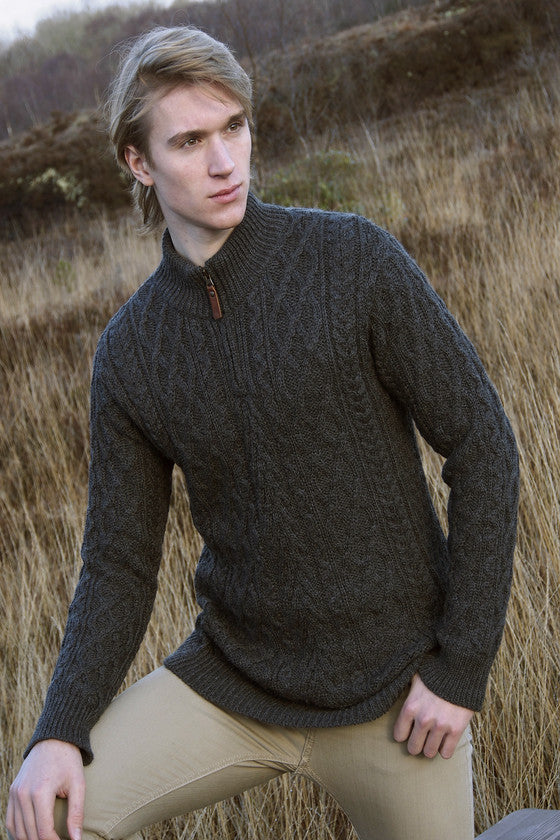 Men's Half Zip Aran Sweater - Charcoal