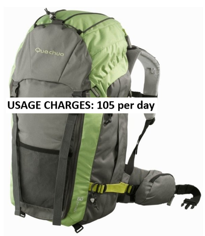 RENT QUECHUA Trekking bag 60 litres | Rs 90 only | Home delivery