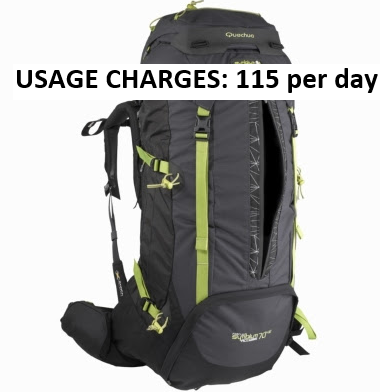 RENT QUECHUA Trekking bag 70 litres | Free Delivery | Himalayan trek bag
