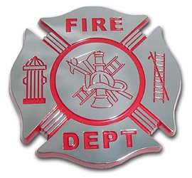 AMG Fire Department Fire Fighter Maltese Cross Chrome Plated OEM Metal Car Truck Motorcycle Emblem
