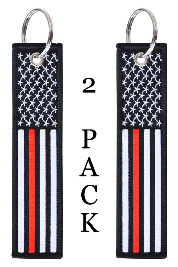 American Flag Keychain Tag with Key Ring and Carabiner - Fireman Firefighter - Keys, Cars, Motorcycles, Backpacks, Luggage, and Gifts - EDC (Thin Red Line)