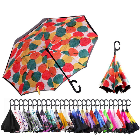 Big Stick Umbrella with ABS Handle and Carrying Bag ABCCANOPY Inverted Umbrella,Double Layer Reverse Windproof Teflon Repellent Umbrella for Car and Outdoor Use UPF 50