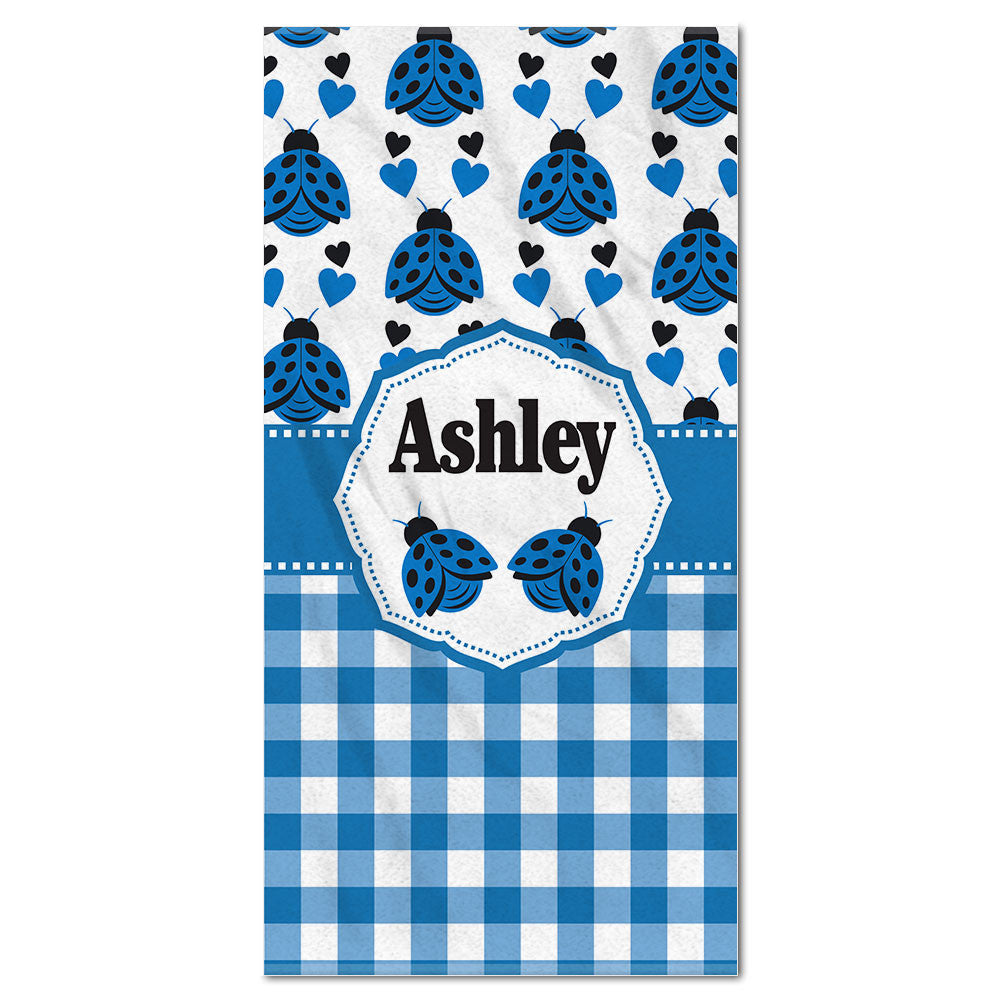 Monogram Ladybugs Hearts and Plaid Blue on White Beach Towel - Trek ...