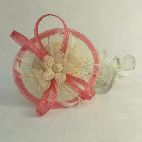Ivory  And Coral Sinamay Fascinator code  53