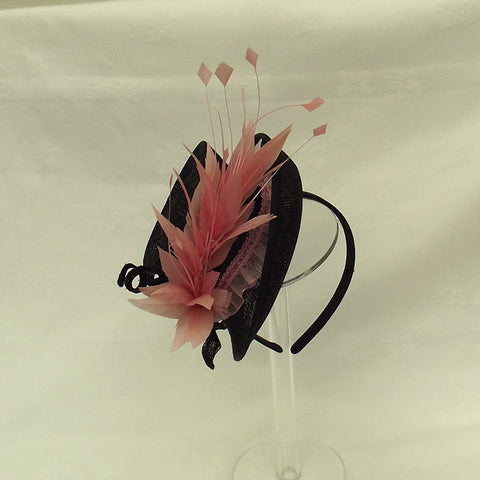 Black And Pink Mini Top Hat Fascinator Code 52