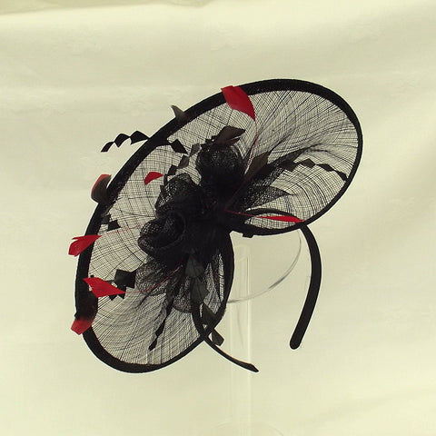 Black And Red Fascinator Code 047