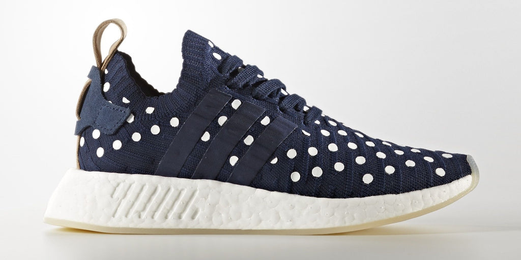 adidas Saints SG NMD_R2 Primeknit Womens Mens Boost White Navy Beige Polka Dots