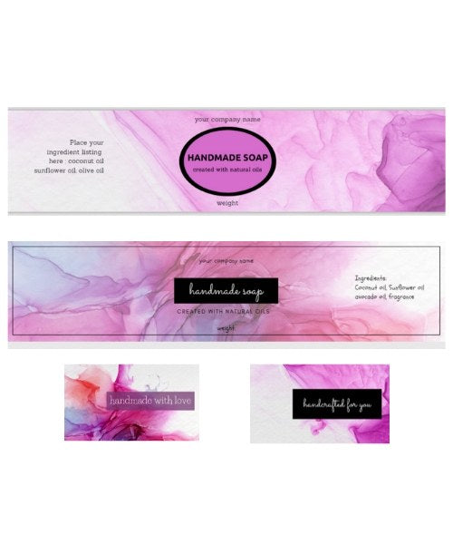 Soap Labels Pink ink Collection: Set of 2 (editable)
