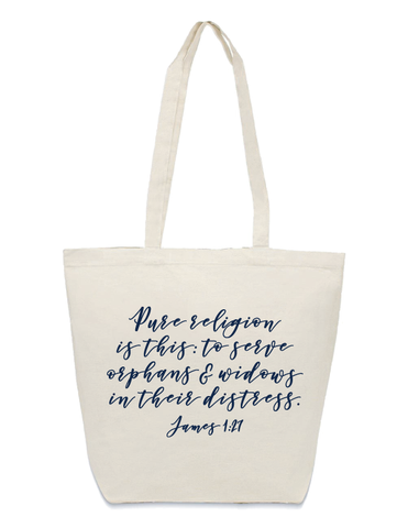 James 1:27 Tote Bag