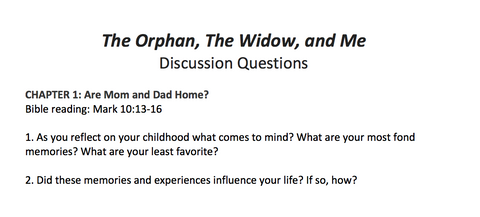 The Orphan, the Widow & Me Discussion Questions (FREE DOWNLOAD)