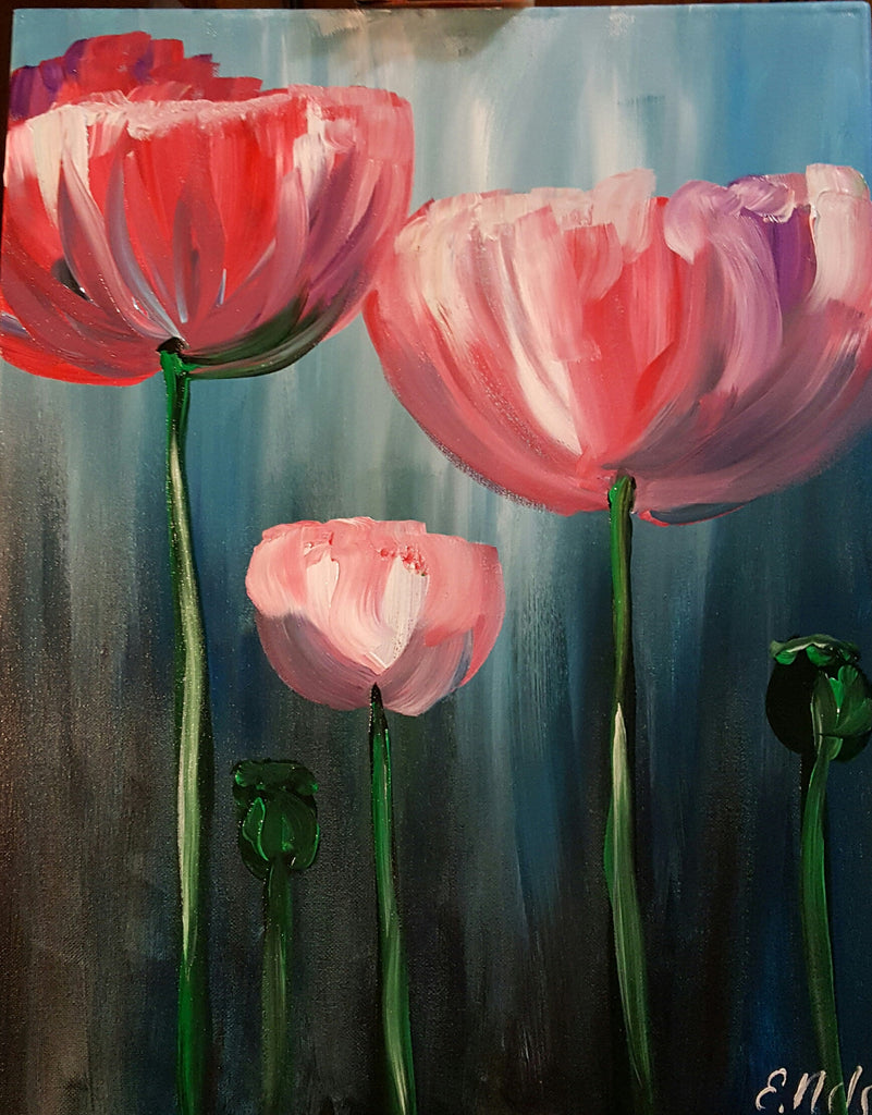 pink and purple poppies chardonnay n canvas