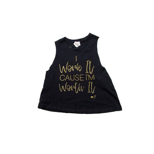 """I Work It Cause Im Worth It"" Racerback Crop Top"