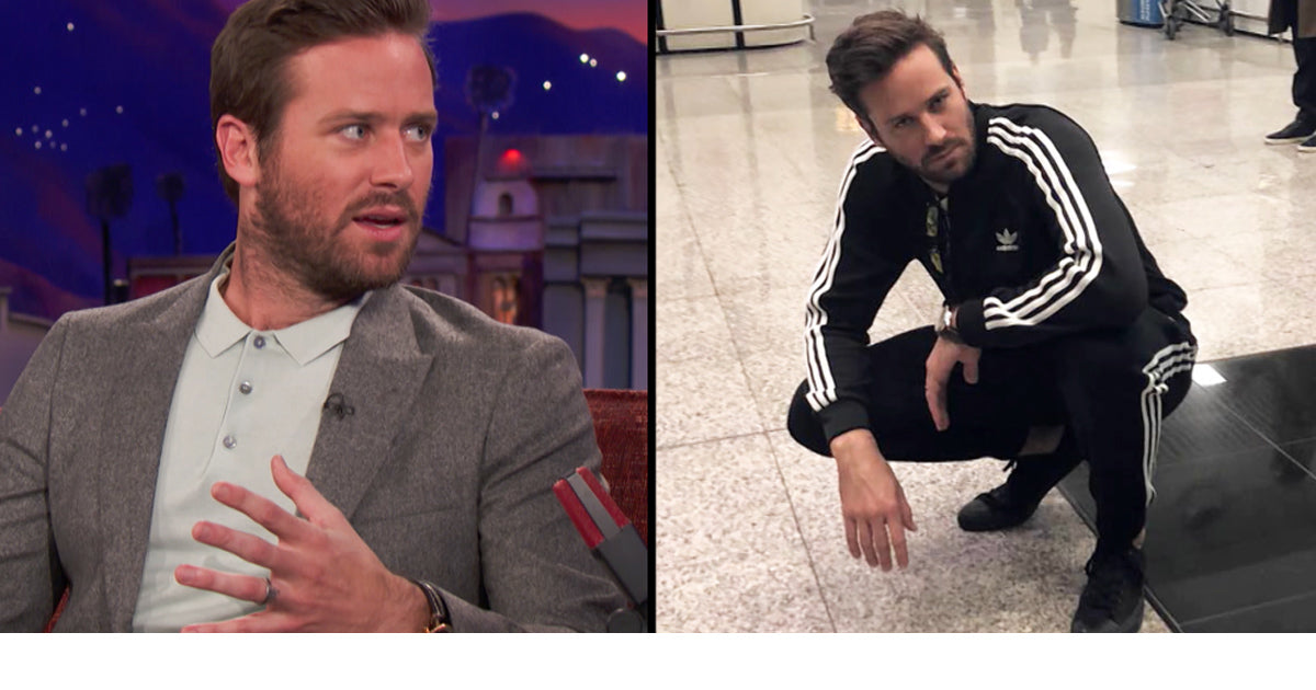 Armie Hammer Announces His Retirement from Track Suits in Strong Suit on Conan