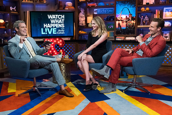 James Van Der Beek in Strong Suit on Watch What Happens Live! with Andy Cohen.
