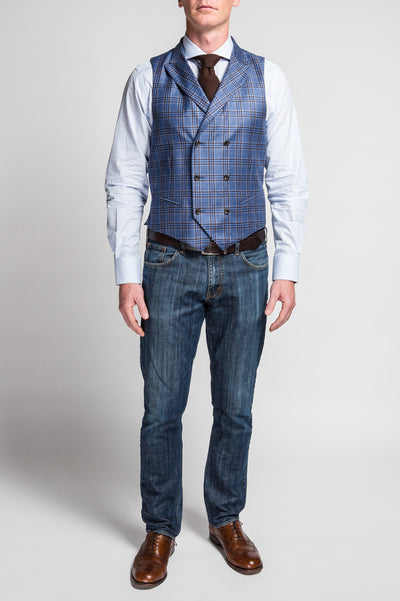 Carrera Blue Brown Plaid Vest