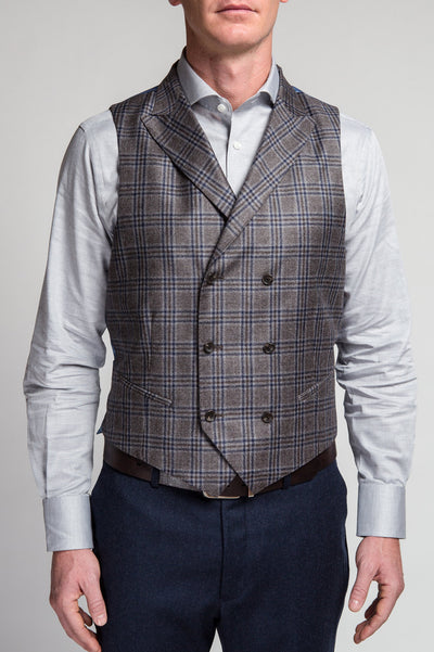 Carrera Brown Blue Plaid Vest